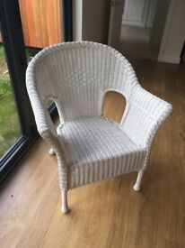 Large white wicker chair