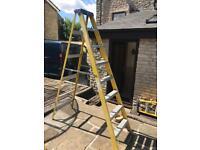 8 tread fibreglass electricians step ladders 2.3m