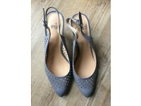 Caprice leather sling back sandals with heel, grey, size 61/2 or 7