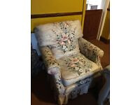 2 floral armchairs