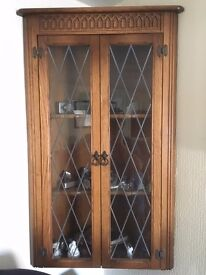 High Quality Oak Glazed Wall Mounted Corner Display Cabinet 110cm high