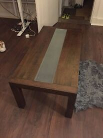 Walnut and tempered clear glass coffee table