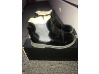 Girls black patent leather boots size 9