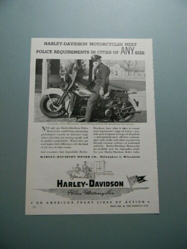 "1945 HARLEY-DAVIDSON MOTORCYCLES ""MEET POLICE REQUIREMENTS..."" SALES ART AD"