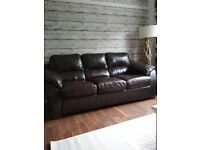 3 + 2 Seater Conker Brown Full Leather Suites Excellent Condition