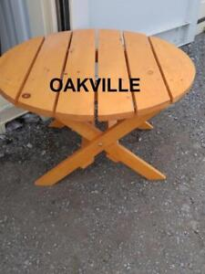 "CEDAR SMALL OUTSIDE TABLE 28"" x 17.5"" high Patio Outdoors Oakville Solid Wood Folds up Folding Brown Side Table"