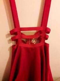Red suspended skirt