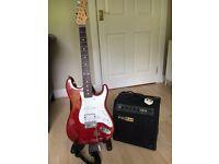 Aria STG series 6 string guitar including Fat Rat amplifier