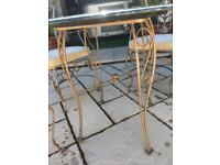 Cast iron marble top table and chairs