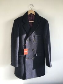 Duchamp London designer slim fit coat texture wool fleck sold out RP400