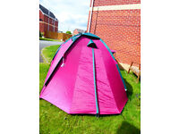 4 person pink done tent used once for two nights by someone who decided they don't like camping.