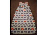 Baby GroBag, white/gray/orange with butterfly design. 6-18 months, 2.5 tog (suitable all year round)