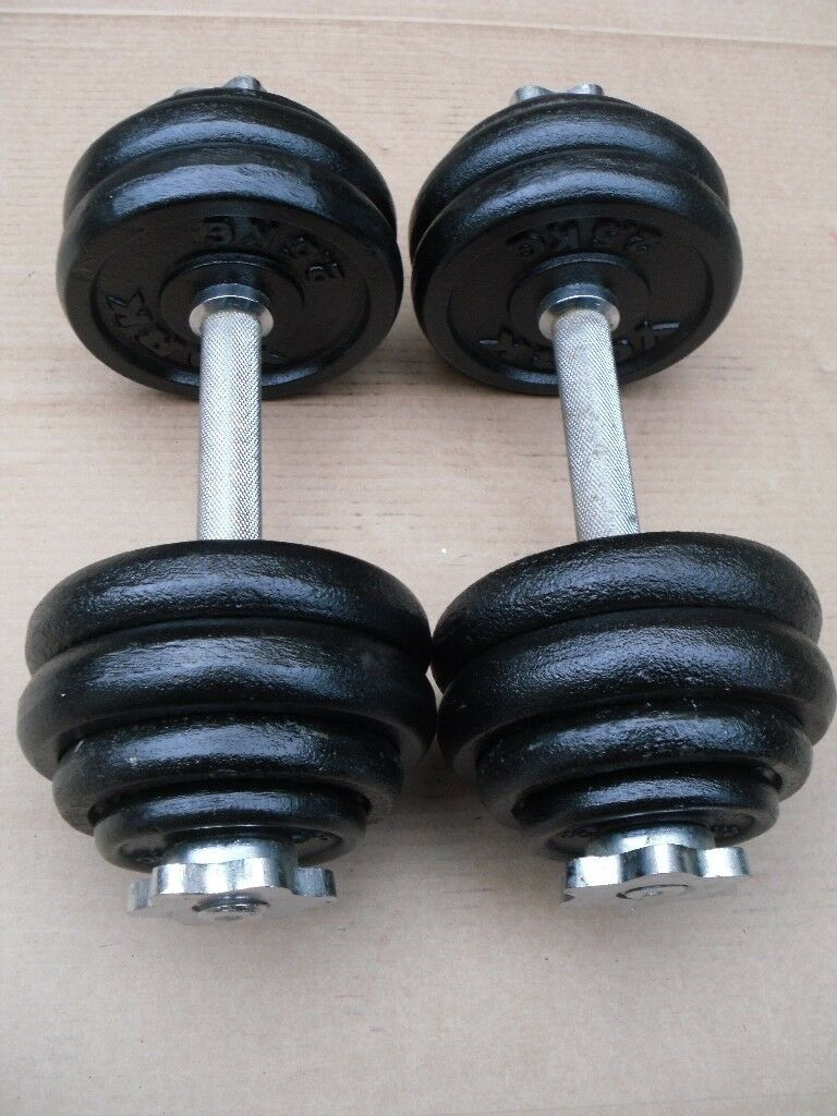 2 x 15kg York cast iron dumbbells