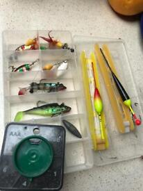 Fishing Lures, Floats, Lines. & tackle Box. £5.