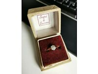 18ct Gold Vintage Diamond Cluster Flower Engagement Ring Size R