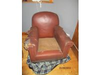 Leather Club chair which needs upholstery / renovation.
