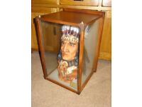 Native American Indian Head in Glass Cabinet/Case