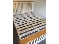 Pine double bed **frame only** and 3 draw bed side table (can be sold separately)