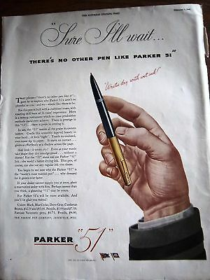 1945 Parker 51 Fountain Pen Writes Dry with Wet Ink Ad
