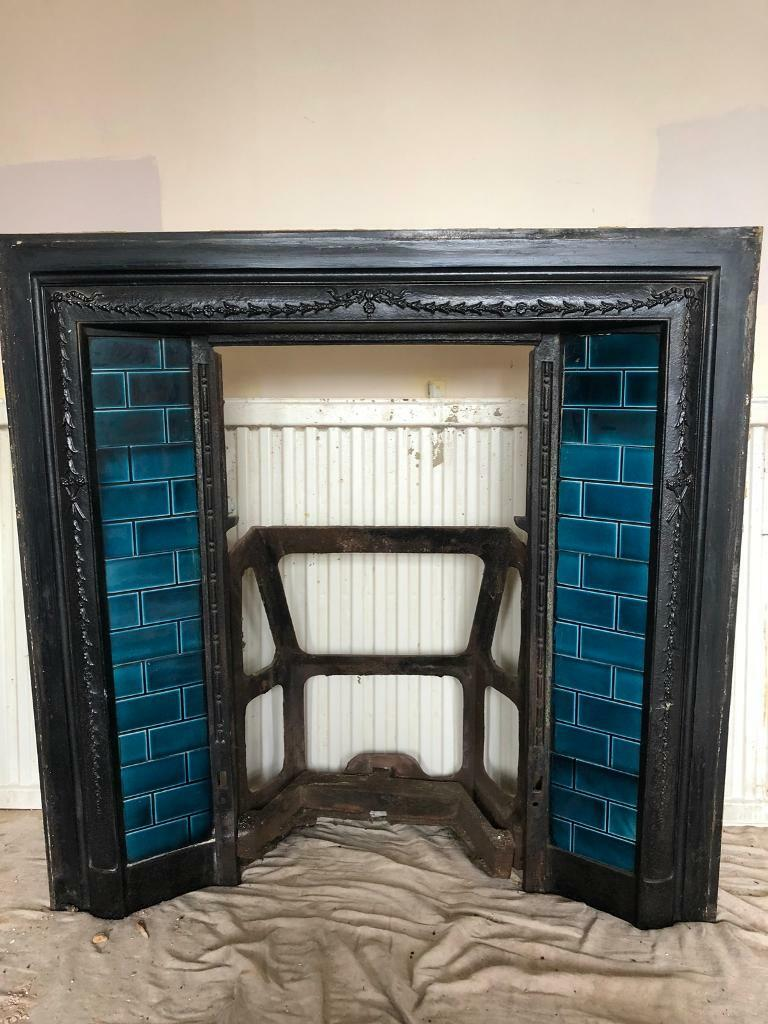 1920s Cast Iron Fireplace With Original Tiles In
