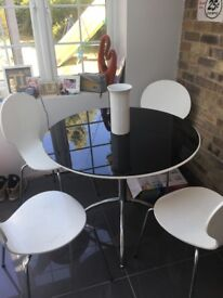 Glass white or black table with 6 chairs
