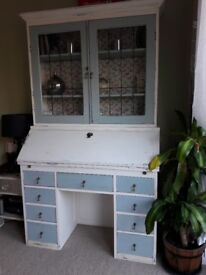 Antique vintage shabby chic painted bureau bookcase