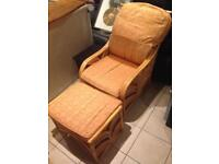 Wicker Chair & Stool