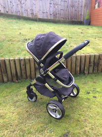 iCandy Peach 2 Pram, Pushchair in Black Magic, Maxi-cosi carseat with all raincovers