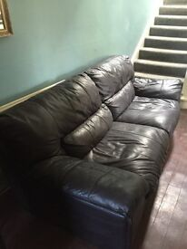 Brown Leather Sofa - free to a good home!