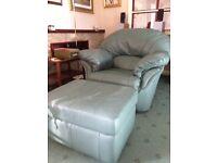 Leather sofa, armchair & footstool
