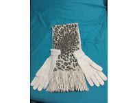 Animal print scarf and glove set (new)