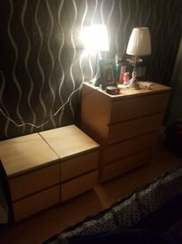Chest of drawers + 2 bedside drawers