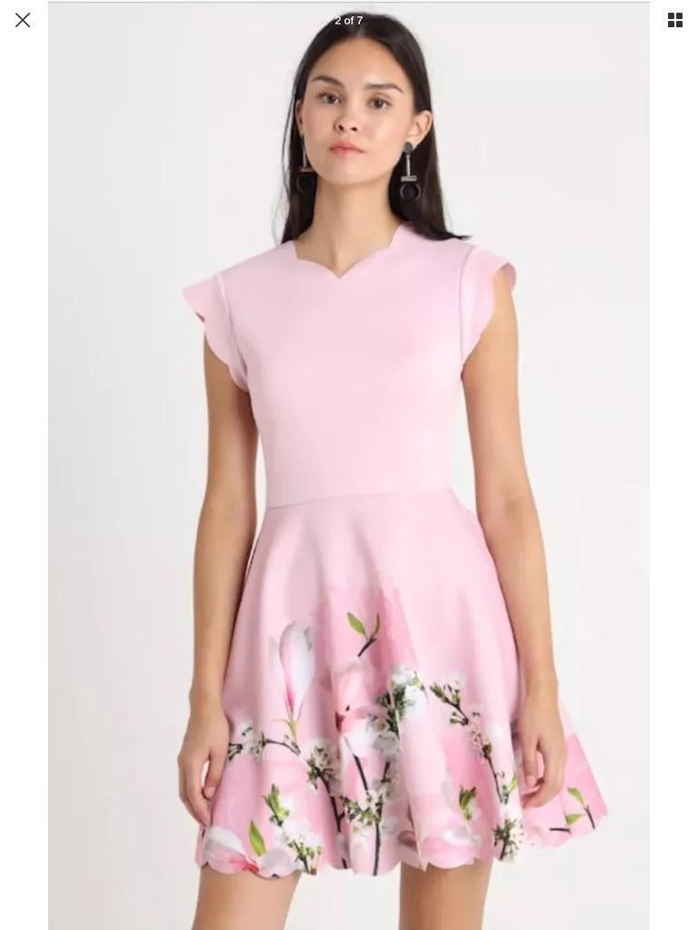 Ted Baker Harmony Grettae Pink Floral V-Neck Skater Dress Size Uk ... efa8b8ac7