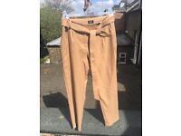 Oasis Beige Peg Leg Trousers