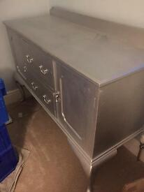 Silver painted sideboard.