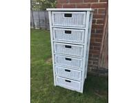 White Wicker Storage Unit with 6 Drawers
