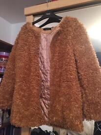 Wool Coat with Quilted Lining in Caramel. Size Medium.