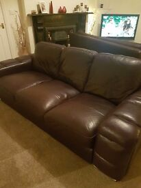 Dark purple leather sofa 3 seater