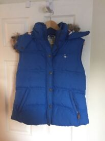 Ladies Jack Wills Gilet Waistcoat Blue Size 14, detachable fur trimmed hoodVGC