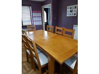 8-10seater oak table and chairs