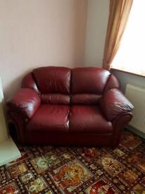 leather 2 seater sofa mahogany red