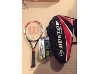 Wilson tennis racket, bag and balls