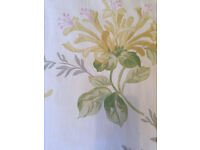 Curtains (Laura Ashley) Honeysuckle Trail Camomile, lined, pencil pleat, 90 x 90