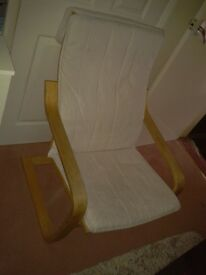 Ikea Adults white Poang bentwood chair in very good condition