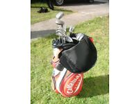 Red Callaway Cart Bag with set of clubs