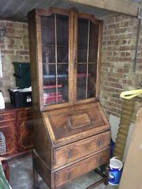 Antique Solid Oak Bureau Bookcase