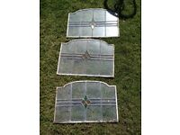 "x 4 leaded edwardian stained glass panels - appx size 21"" x 14"""