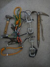 Quality Vintage ice climbing equipment, Ice axe, crampons, ice piton hammer, and accessories