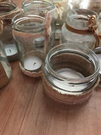 Hessin and lace decorated jars wedding/party decorations