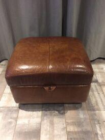 Beautiful leather pouf with storage